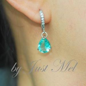 Elegant Glass Sea Green Teardrop Ea..