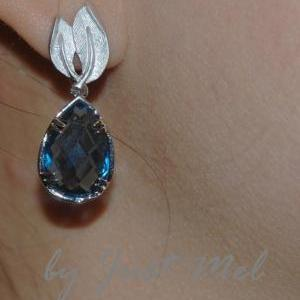 Sapphire Blue Teardrop with Leaves ..