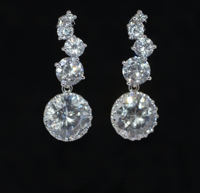 Round Cubic Zirconia Earring - Cascading Earrings, Wedding Earrings, Bridesmaid Earrings, Bridal Jewelry (E392)