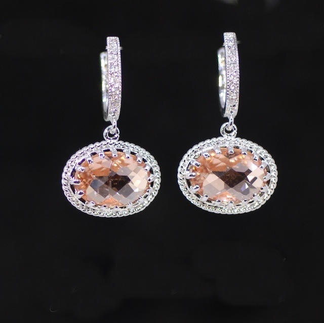Wedding Earrings, Bridesmaid Earrings, Bridal Jewelry - Cubic Zirconia Detailed Earring Hook with Peach Oval Glass (E384)
