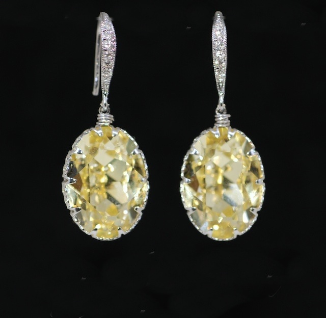 Wedding Earrings, Swarovski Jonquil Oval Crystal with Sterling Sliver Cubic Zirconia Detail Earring Hook - Wedding, Bridesmaid Earrings, Bridal Jewelry (E365)