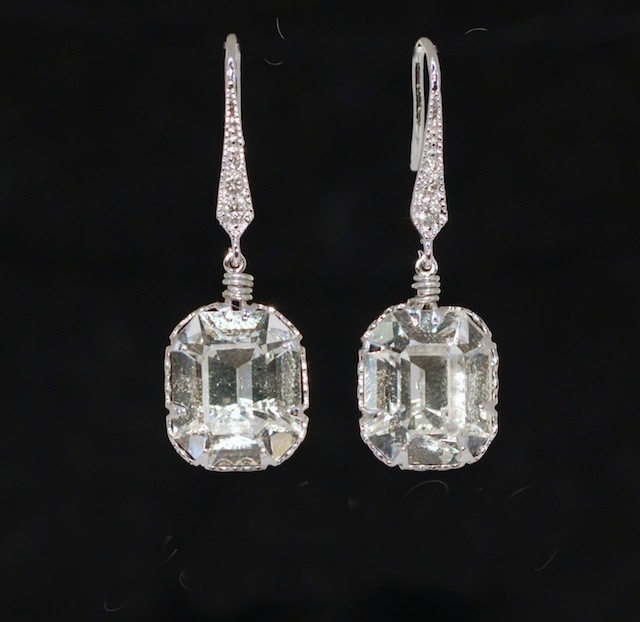 Wedding Earrings, Bridesmaid Earrings, Bride Earrings, Bridal Jewelry - Swarovski Clear Octagon Crystal Earring (E485)