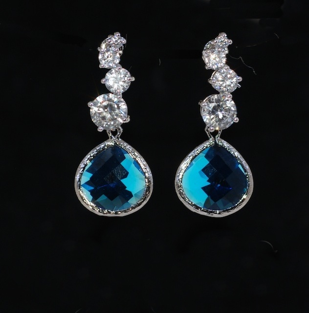 Wedding Earrings, Bridesmaid Earrings, Cascading Round Cubic Zirconia Earring With Capri Blue Glass Quartz (E466)