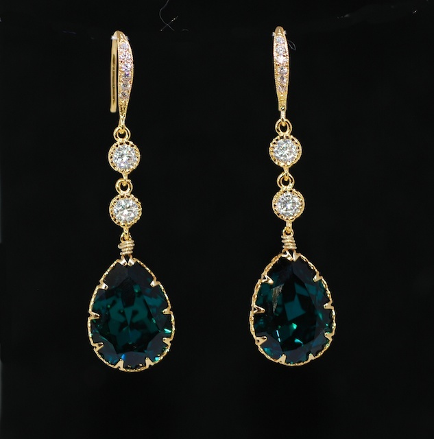 Wedding Earrings, Bridesmaid Earrings, Swarovski Emerald Green Teardrop Crystal, Round Cubic Zirconia, Gold Plated CZ Detail Earring Hook - Wedding Jewelry, Bridal Earrings (E441)