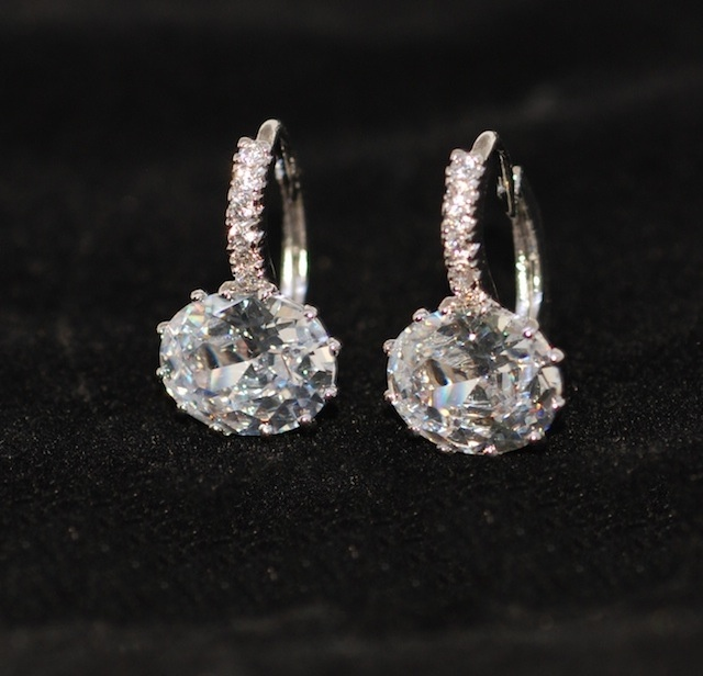 Wedding Earrings Bridesmaid Bridal Jewelry Brides Cubic Zirconia Oval Leverback E525