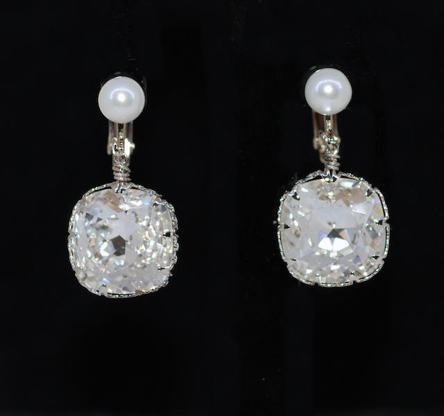 Wedding Earrings, Bridesmaid Earrings - White Pearl Screw Back Clip On Earring with Swarovski Clear Cushion Cut Crystal (E611)