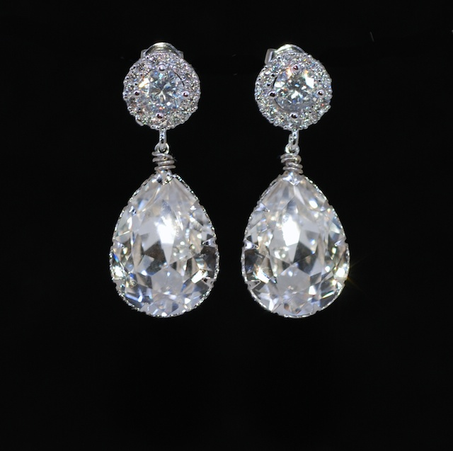 Wedding Earrings Bridesmaid Bridal Jewelry Cubic Zirconia Round Earring With Swarovski Clear Teardrop Crystal E604