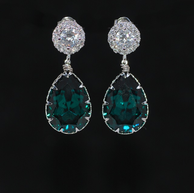 Cubic Zirconia Round Earring With Swarovski Emerald Green Teardrop Crystal Wedding Earrings Bridesmaid Bridal Jewelry E605