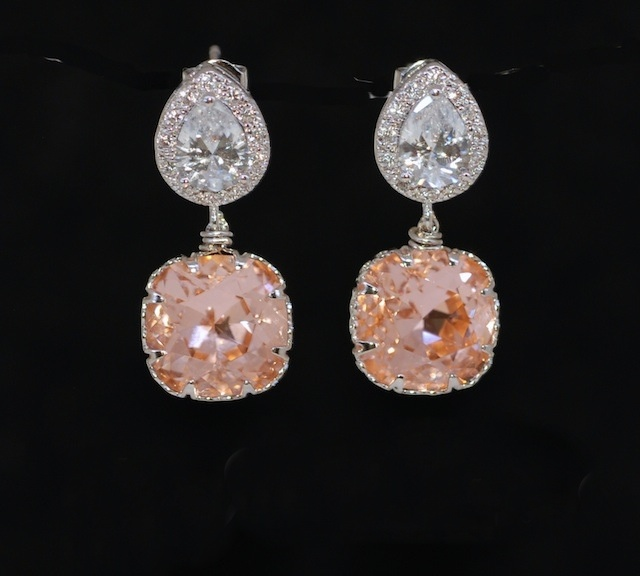 peach wedding gold bridesmaid rose earrings crystal pin