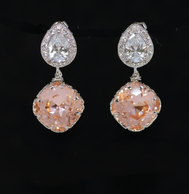 everyday pin necklace peach gold flower cz champagne set and earrings