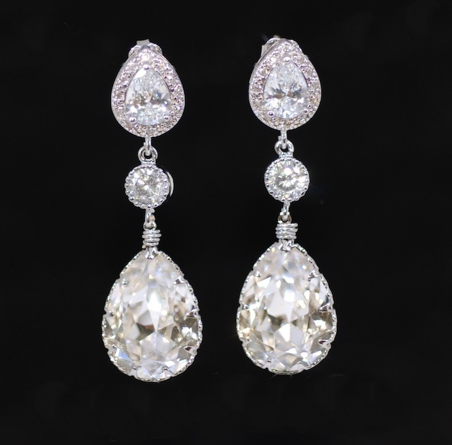Wedding Earrings Bridesmaid Cubic Zirconia Teardrop Earring With Round And Swarovski Clear Crystal E289