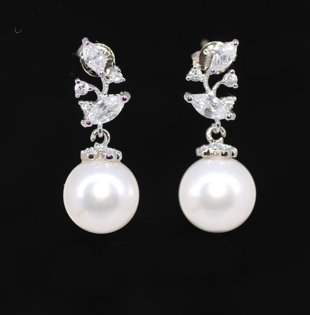White Bridal Earrings