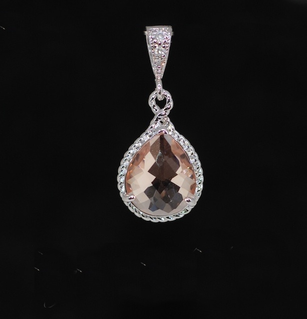 Wedding Jewelry, Pendant Necklace, White Gold Plated Cubic Zirconia Detailed Bail with Peach Glass Quartz Pendant (P026)