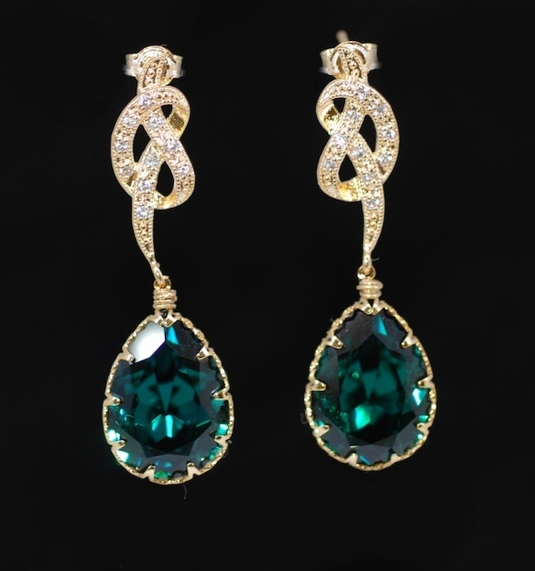Emerald Green Earrings Gold Plated Cubic Zirconia Detailed Knot Earring Wedding Bridesmaid Bridal Jewelry E281