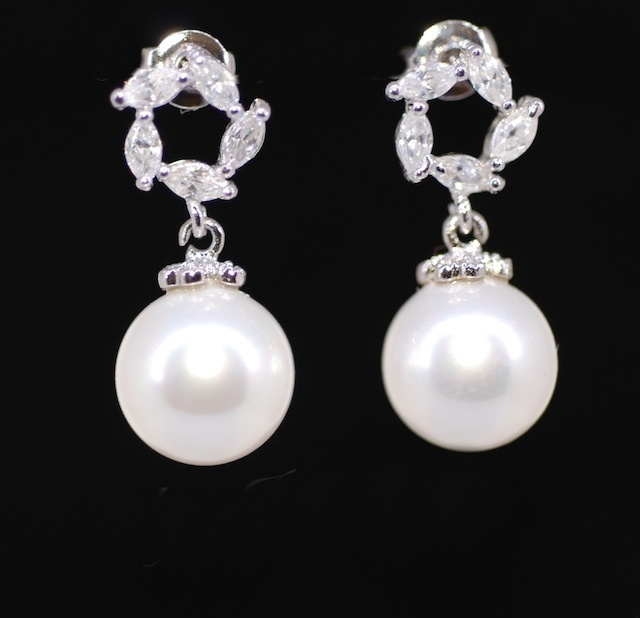 Pearl Earrings Cubic Zirconia Wedding Bridesmaid Bridal Jewelry E288