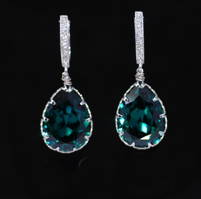 Wedding Earrings Bridesmaid Cubic Zirconia Detailed Earring Hook With Swarovski Emerald Green Teardrop Crystal E337