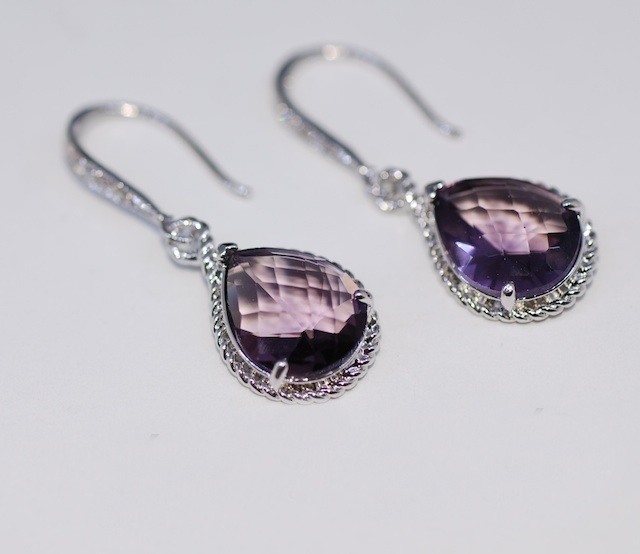 Wedding Earrings, Bridesmaid Earrings, White Gold Plated Sterling Silver Cubic Zirconia Detailed Earring Hook with Amethyst Teardrop Glass Quartz (E350)