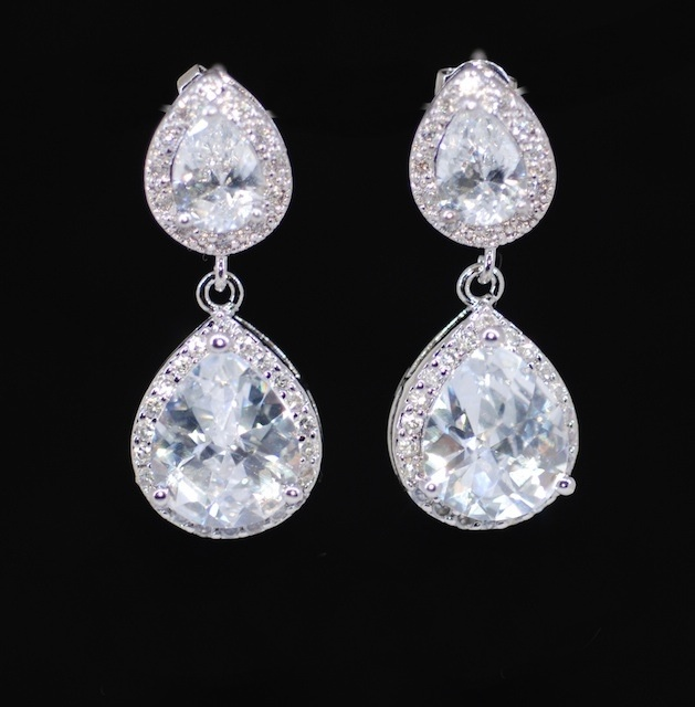 Wedding Earrings Bridesmaid Bridal Jewelry Cubic Zirconia Teardrop Earring With E339