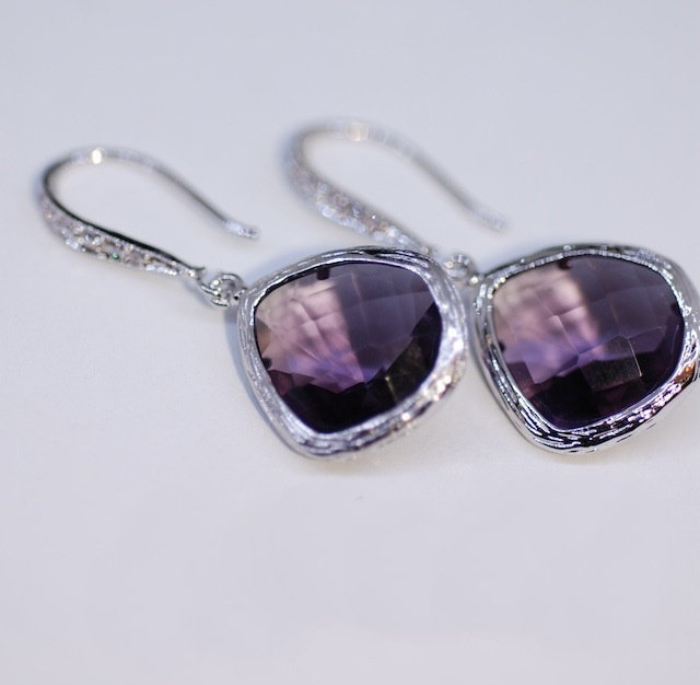 Wedding, Bridesmaid Earrings, Bridal Jewelry - White Gold Plated Sterling Silver CZ Detailed Earring Hook with Amethyst Glass Quartz (E330)