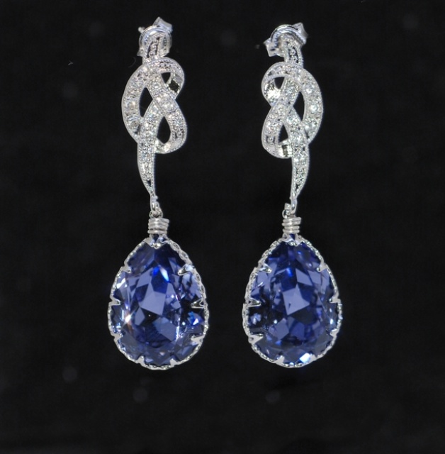 Wedding Earrings Bridesmaid Cubic Zirconia Detailed Knot Earring With Swarovski Tanzanite Purple Teardrop E241