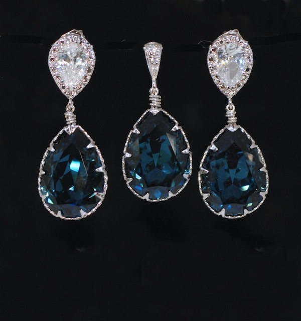 Earrings And Pendant Set S268a Cz Earring With Swarovski Montana Blue Teardrop Crystal