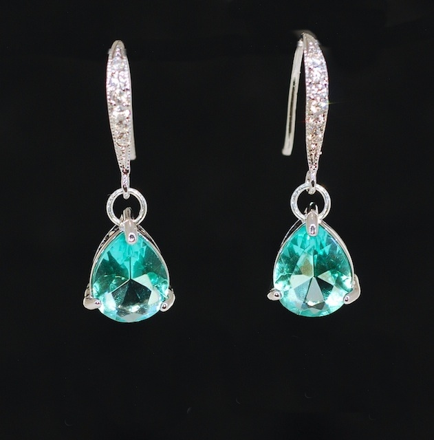 Elegant Glass Sea Green Teardrop Earrings - Wedding Jewelry, Bridal Earrings, Bridesmaid MOH Gift (E435)