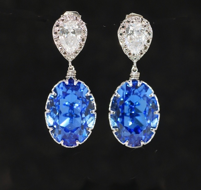 Cubic Zirconia Teardrop and Swarovski Oval Sapphire Crystal Earrings - Wedding Jewelry, Bridal Earrings, Bridesmaid MOH Gift (E429)