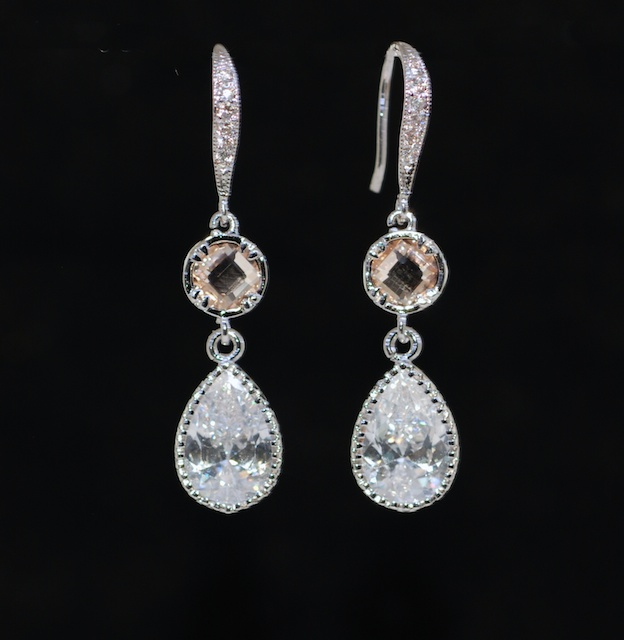 Cubic Zirconia Detailed Earring Hook, Round Light Peach Quartz, Cubic Zirconia Teardrop Earring - Wedding Earrings, Bridal Jewelry (E620)