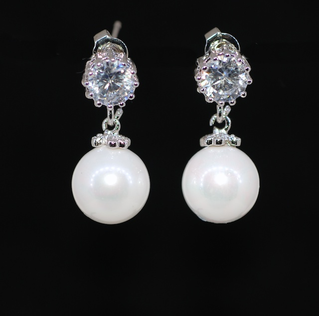 Wedding Earrings Bridesmaid Bridal Jewelry Round Cubic Zirconia Earring With White Pearl E627