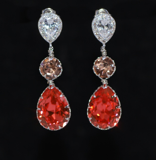 Cubic Zirconia Teardrop Earring With Swarovski Light Peach Round Padparadscha Crystals Wedding Jewelry Bridal Earrings E633