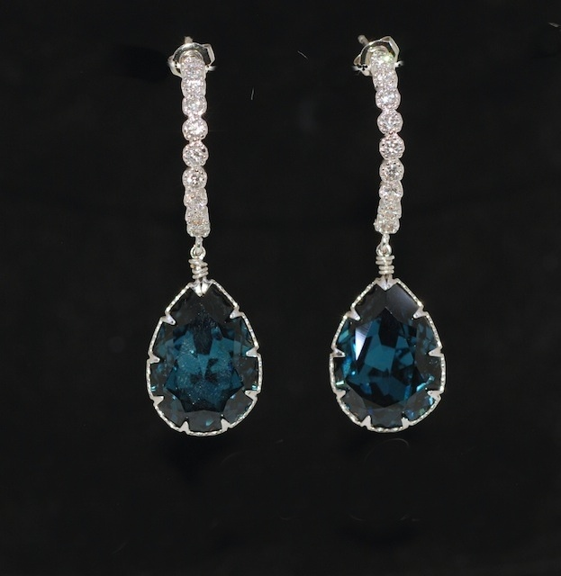 Cubic Zirconia Detailed C Shape Earring With Swarovski Montana Blue Teardrop Crystal Wedding Jewelry Bridal Earrings E461