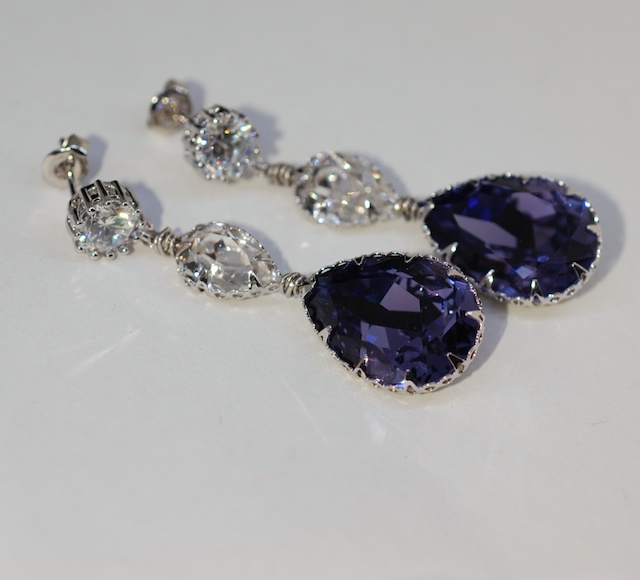 Round Cubic Zirconia Earrings with Swarovski Clear Teardrop, Tanzanite (Purple) Teardrop Crystals - Wedding Jewelry, Bridal Earrings (E649)