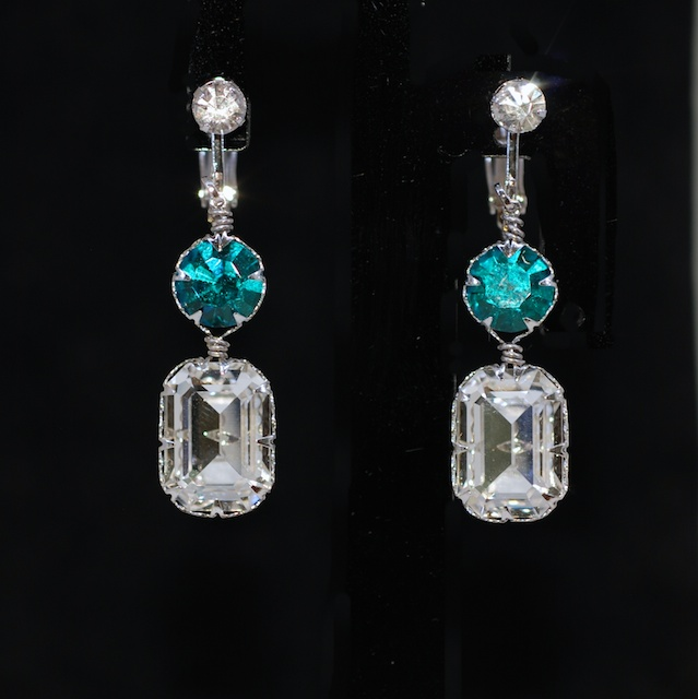 Crystal Clip on Screw Back Earrings with Swarovski Blue Zircon Round, Clear Octagon Crystals - Wedding Jewelry, Bridal Earrings (E666)