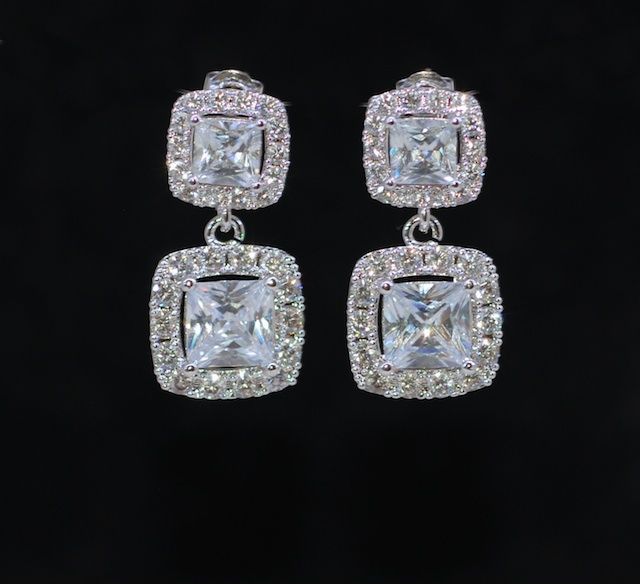 Wedding Earrings Bridesmaid Bridal Jewelry Cubic Zirconia Square Princess Cut Earring With E688