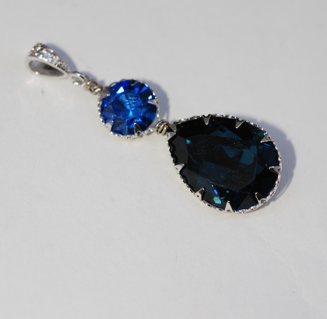 CZ Detailed Pendant with Swarovski Round Sapphire and Montana Blue Teardrop Crystals - Wedding Jewelry, Bridal Jewelery (P063)