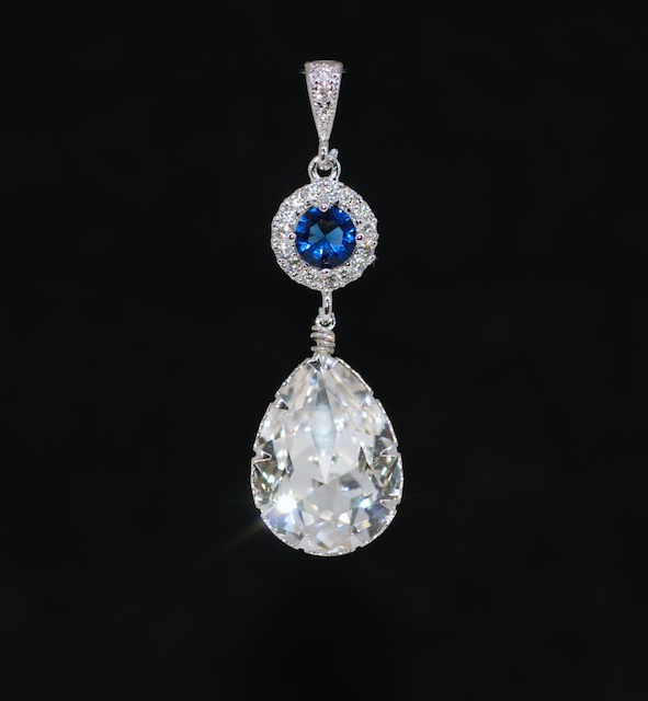 Cubic Zirconia Detailed Sapphire Blue Round Pendant with Swarovski Clear Teardrop (P075)