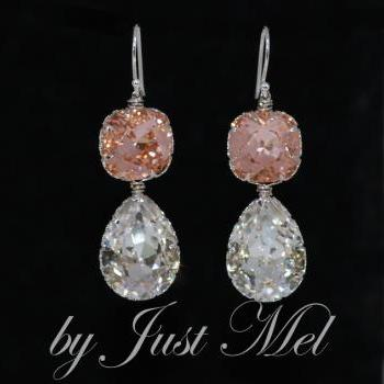 Wedding Earrings, Bridal Jewelry - Swarovski Square Cushion Cut Light Peach, Clear Teardrop Crystal with Sterling Silver Earring Hook (E579)