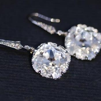 Wedding Earrings, Bridesmaid Earrings, Swarovski Square Cushion Cut Clear Crystal with Cubic Zirconia Detailed Earring (E302)
