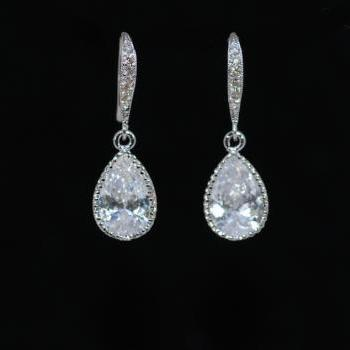 Wedding Earrings, Bridesmaid Earrings - Cubic Zirconia Detailed White Gold Plated over Brass Earring Hook with Sparkling CZ Teardrop (E603)