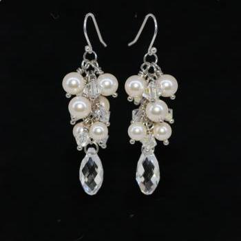 Wedding Jewelry, Bridal Earring, MOH and Bridesmaid Gift - Pearl and Swarovski clear crystals earring (E472)