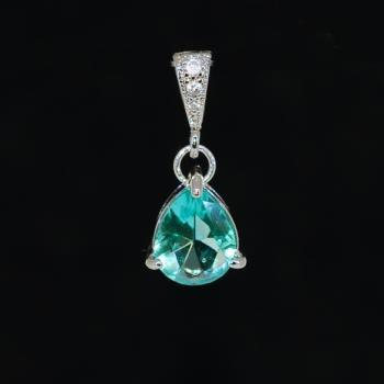 White Gold Plated Cubic Zirconia Detailed Bail with Sea Green Glass Quartz Pendant (P044)