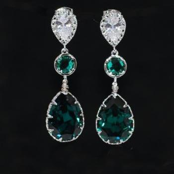 Cubic Zirconia Teardrop Earring, Round Emerald Green Glass Quartz, Swarovski Emerald Green Teardrop Crystal (E547)
