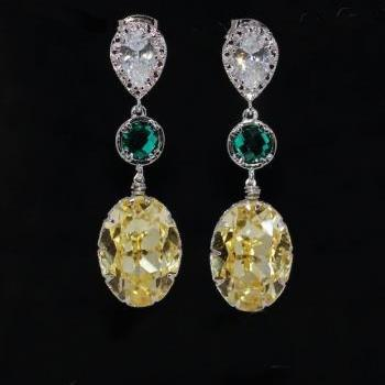 Cubic Zirconia Teardrop Earring, Round Emerald Green Glass Quartz, Swarovski Jonquil Oval Crystal (E550)
