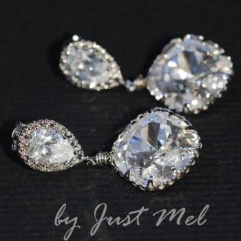 Cubic Zirconia Teardrop and Swarovski Square Crystal Earrings (E217)