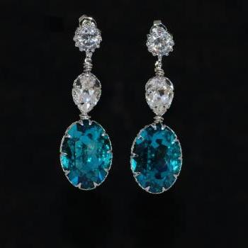 Round Cubic Zirconia Earrings with Swarovski Clear Teardrop, Indicolite Oval Crystals - Wedding Jewelry, Bridal Earrings (E646)