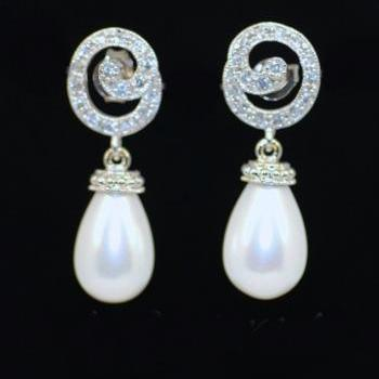 Wedding Earrings, Bridesmaid Earrings, Bridal Jewelry - Cubic Zirconia Detailed Swirl Earring with White Briolette Pearl (E192)