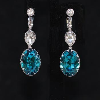Crystal Clip On Screw Back Earrings with Swarovski Clear Teardrop, Indicolite Oval Crystals - Wedding Jewelry, Bridal Earrings (E672)