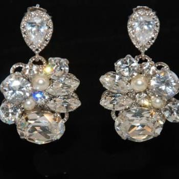 Vintage Earring with Cubic Zirconia Teardrop Earring Post - Wedding Earrings, Bridesmaid Earrings, Bridal Jewelry (E118)