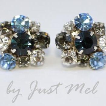 Vintage Earring with Multi-Color Swarovski Crystals - Blue (E203)
