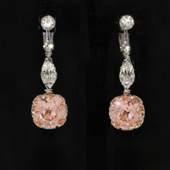 Crystal Clip On Screw Back Earring with Swarovski Clear Navette and Light Peach Cushion Cut - Wedding Jewelry, Bridal Earrings (E670)